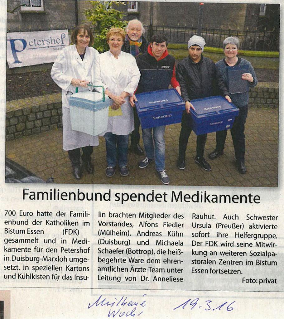 Familienbund spendet Medikamente / Mülheimer Woche / 19.03.2016