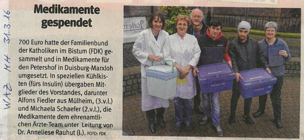 Familienbund spendet Medikamente / WAZ Mülheim / 31.03.2016