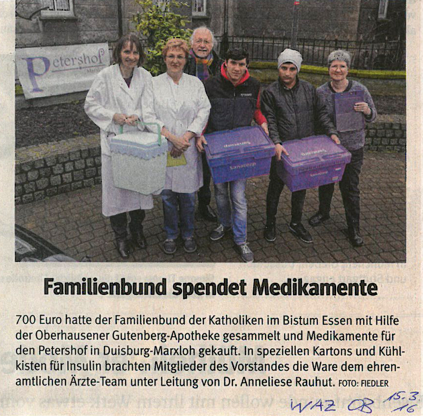 Familienbund spendet Medikamente / WAZ Oberhausen / 15.03.2016